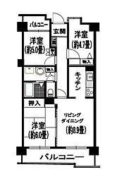 神奈川県茅ヶ崎市本村5丁目の賃貸マンションの間取り