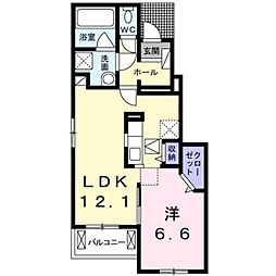 JR中央本線 甲府駅 徒歩32分の賃貸アパート 1階1LDKの間取り