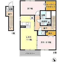 サンモールD[2階]の間取り