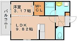 シャイン博多東[7階]の間取り