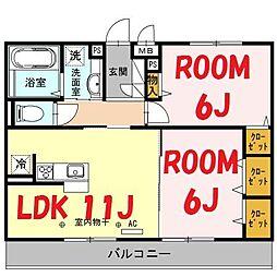 神奈川県横浜市旭区上白根2丁目の賃貸アパートの間取り