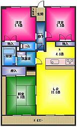 コーナス・ガーデンA棟[2階]の間取り