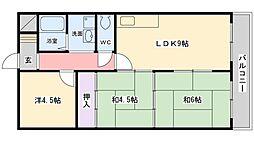 サニーコート山本[102号室]の間取り