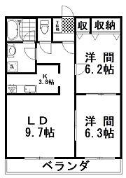 グリーンオークマンション 2階2LDKの間取り