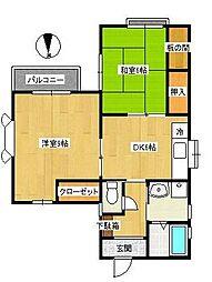 神奈川県横浜市都筑区川和町の賃貸アパートの間取り