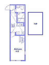 東急東横線 白楽駅 徒歩8分の賃貸アパート 1階1Kの間取り