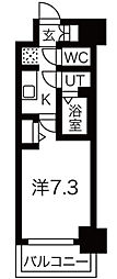 ファステ―ト難波グランプリ 4階1Kの間取り