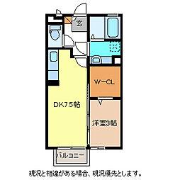 JR篠ノ井線 長野駅 バス23分 河原口下車 徒歩6分の賃貸アパート 1階1DKの間取り
