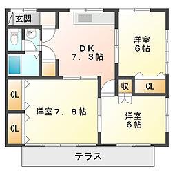 サンハイツ寺田[1階]の間取り