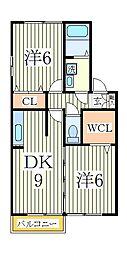 クレストパークD[1階]の間取り