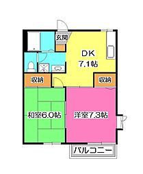 埼玉県所沢市美原町3丁目の賃貸アパートの間取り
