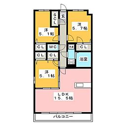 グランドラインII 3階3LDKの間取り