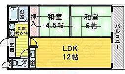 南海高野線 萩原天神駅 徒歩5分の賃貸マンション 4階2LDKの間取り