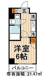 東京メトロ丸ノ内線 後楽園駅 徒歩6分の賃貸マンション 4階1Kの間取り