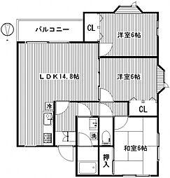 メゾンパステル[2階]の間取り