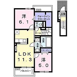 大阪府八尾市沼4丁目の賃貸アパートの間取り