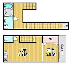 フォルモント福島 1階1LDKの間取り