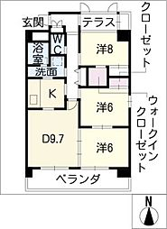 リバーズマンション築捨II[4階]の間取り