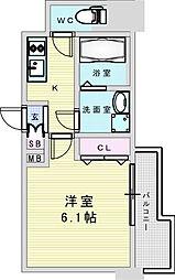Osaka Metro御堂筋線 新大阪駅 徒歩8分の賃貸マンション 3階1Kの間取り