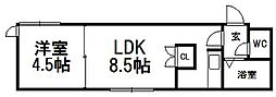 ローヤルハイツ本郷通6[302号室]の間取り