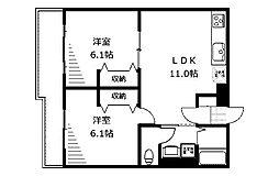 フラット福寿第8[2階]の間取り