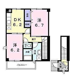 クレールB[2階]の間取り