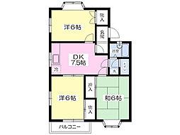 JR青梅線 福生駅 バス5分 花之岡下車 徒歩8分の賃貸アパート 2階3DKの間取り