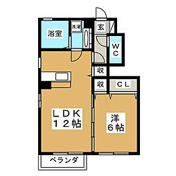 D−roomM A[1階]の間取り
