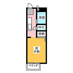 ビーライン青江D棟[2階]の間取り