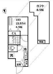 東京都品川区戸越2丁目の賃貸アパートの間取り