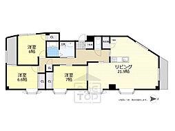 JR東海道・山陽本線 吹田駅 徒歩10分の賃貸マンション 2階3LDKの間取り