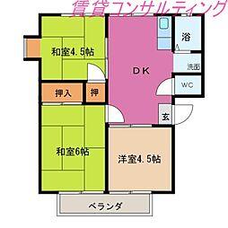 三重県伊勢市小俣町本町の賃貸アパートの間取り
