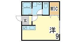 山陽電鉄本線 西代駅 徒歩7分の賃貸アパート 1階1Kの間取り