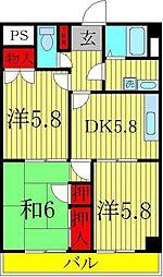 西原レジデンス 3階3DKの間取り