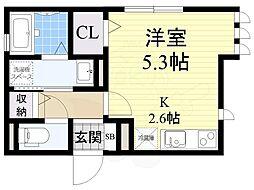 近鉄けいはんな線 吉田駅 徒歩2分の賃貸アパート 3階ワンルームの間取り