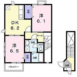 滋賀県栗東市小平井2丁目の賃貸アパートの間取り