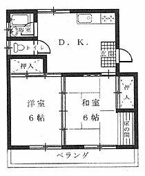 押川コーポ[2DK号室]の間取り