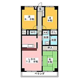 愛知県名古屋市名東区猪子石原2丁目の賃貸マンションの間取り
