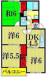 埼玉県越谷市宮本町5丁目の賃貸アパートの間取り