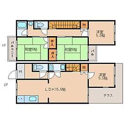 奈良県奈良市朱雀5丁目の賃貸マンションの間取り
