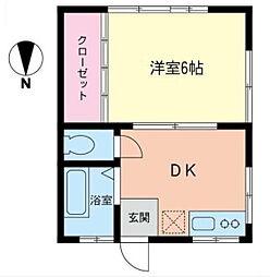 神奈川県横浜市青葉区もえぎ野の賃貸アパートの間取り