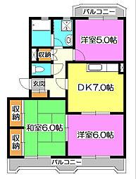 埼玉県所沢市西新井町の賃貸マンションの間取り