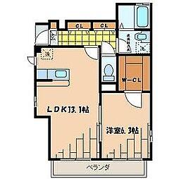 東京都江戸川区東小松川2丁目の賃貸アパートの間取り