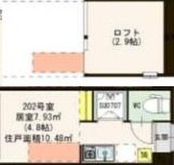 ハーモニーテラス高円寺南IV 2階ワンルームの間取り