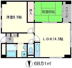 京福修学院第2マンション[5階]の間取り