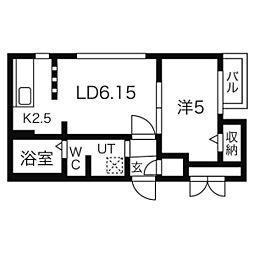 ブランノワールW18.exe 3階1LDKの間取り