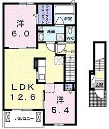香川県高松市多肥上町の賃貸アパートの間取り
