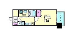 ファーストフィオーレ江坂江の木町パークサイド 14階1Kの間取り