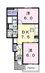 ボニートC 大東[1階]の間取り