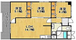 南小笹ヒルズビレッヂ[3階]の間取り